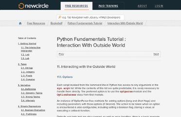 http://marakana.com/bookshelf/python_fundamentals_tutorial/interaction_with_outside_world.html#_options