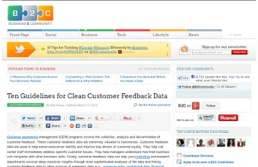 http://www.business2community.com/customer-experience/ten-guidelines-for-clean-customer-feedback-data-0145582
