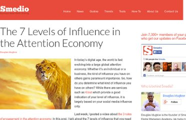 http://smedio.com/2012/05/16/the-7-levels-of-influence-in-the-attention-economy/