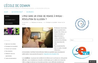 http://ecolededemain.wordpress.com/2012/05/16/lipad-dans-un-stage-de-remise-a-niveau-revolution-ou-illusion/