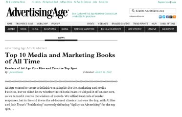 http://adage.com/article/ad-and-marketing-book-reviews/al-ries-jack-trout-s-positioning-marketing-book/134945/