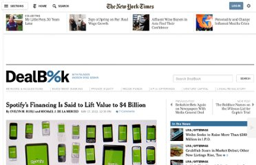 http://dealbook.nytimes.com/2012/05/17/spotify-is-raising-millions-in-a-deal-that-would-value-it-at-4-billion/