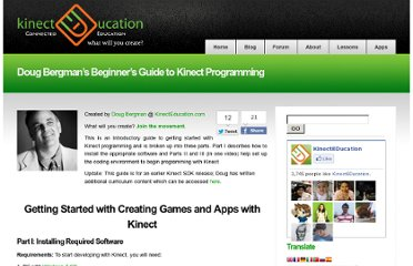 http://www.kinecteducation.com/blog/2011/12/22/doug-bergmans-beginners-guide-to-kinect-programming/
