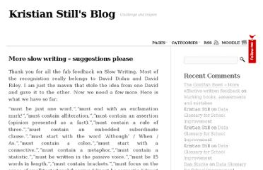 http://www.kristianstill.co.uk/wordpress/2012/05/17/more-slow-writing-suggestions-please/