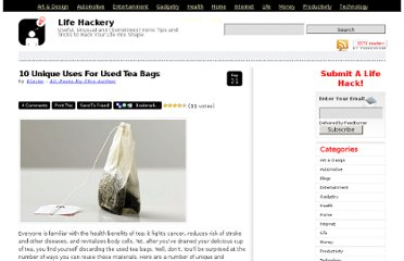 http://lifehackery.com/2009/09/21/10-unique-uses-for-used-tea-bags/
