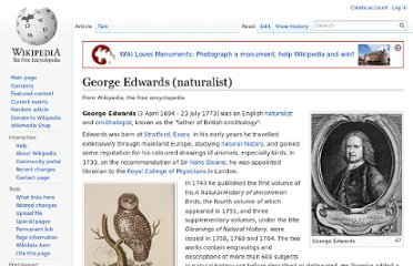 http://en.wikipedia.org/wiki/George_Edwards_%28naturalist%29