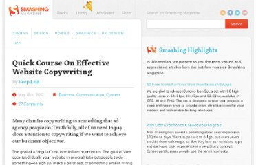 http://www.smashingmagazine.com/2012/05/18/quick-course-on-effective-website-copywriting/