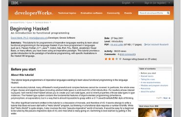 http://www.ibm.com/developerworks/linux/tutorials/l-hask/index.html
