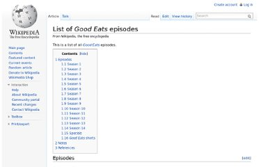 http://en.wikipedia.org/wiki/List_of_Good_Eats_episodes