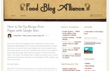 http://foodblogalliance.com/a/how-to-set-up-recipe-print-pages-with-google-sites/