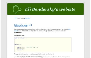 http://eli.thegreenplace.net/2010/01/11/pointers-to-arrays-in-c/