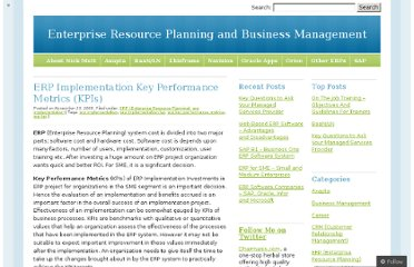 http://nickmutt.wordpress.com/2009/11/25/erp-implementation-key-performance-metrics-kpis/