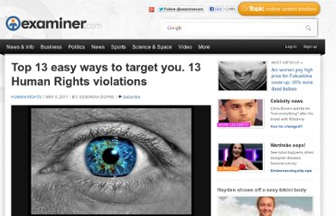 http://www.examiner.com/article/top-13-easy-ways-to-target-you-13-human-rights-violations