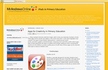 http://mrandrewsonline.blogspot.com/2012/03/apps-for-creativity-in-primary-schools.html