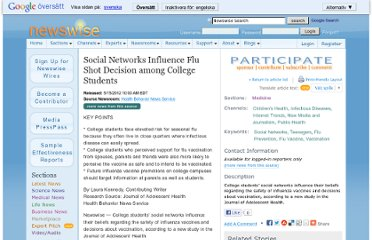 http://www.newswise.com/articles/social-networks-influence-flu-shot-decision-among-college-students