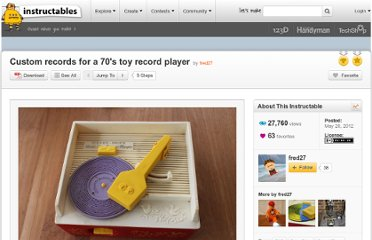 http://www.instructables.com/id/Custom-records-for-a-70s-toy-record-player/