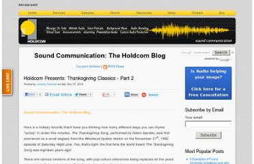 http://soundcommunication.holdcom.com/bid/51380/Holdcom-Presents-Thanksgiving-Classics-Part-2