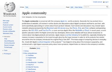 http://en.wikipedia.org/wiki/Apple_community