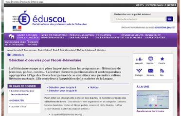 http://eduscol.education.fr/cid50485/litterature.html#lien2