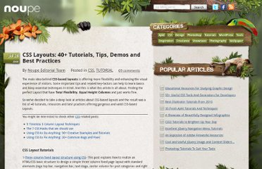 http://www.noupe.com/css/css-layouts-40-tutorials-tips-demos-and-best-practices.html