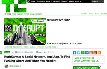 http://techcrunch.com/2012/05/21/kurbkarma-a-social-network-and-app-to-find-parking-where-and-when-you-need-it/