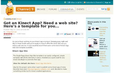 http://channel9.msdn.com/coding4fun/kinect/Got-an-Kinect-App-Need-a-web-site-Heres-a-template-for-you