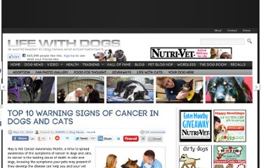 http://www.lifewithdogs.tv/2012/05/top-10-warning-signs-of-cancer-in-dogs-and-cats/
