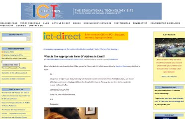 http://www.ictineducation.org/home-page/2012/5/21/what-is-the-appropriate-form-of-address-in-email.html#.T7tECQYJOMc.twitter