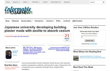 http://enformable.com/2012/05/japanese-university-developing-building-plaster-made-with-zeolite-to-absorb-cesium/
