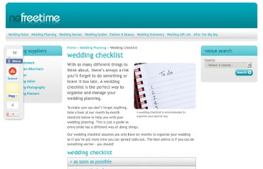http://www.nofreetime.com/wedding-planning/wedding-checklist/default.aspx