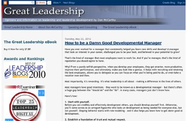 http://www.greatleadershipbydan.com/2012/05/how-to-be-damn-good-developmental.html