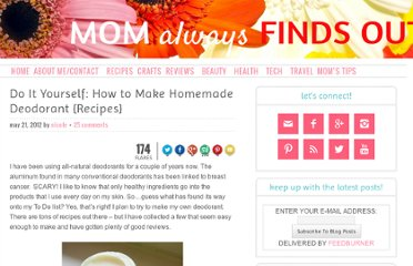 http://momalwaysfindsout.com/2012/05/do-it-yourself-how-to-make-homemade-deodorant-recipes/
