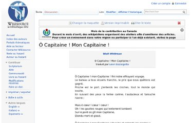 http://fr.wikisource.org/wiki/%C3%94_Capitaine_!_Mon_Capitaine_!