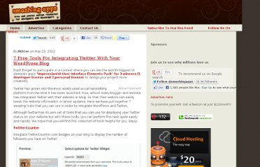 http://www.smashingapps.com/2012/05/23/7-free-tools-for-integrating-twitter-with-your-wordpress-blog.html