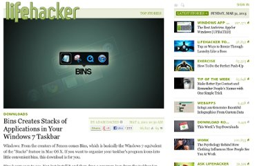 http://lifehacker.com/5787083/bins-creates-stacks-of-applications-in-your-windows-7-taskbar