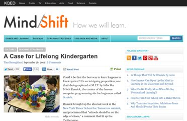 http://blogs.kqed.org/mindshift/2011/09/a-case-for-lifelong-kindergarten/