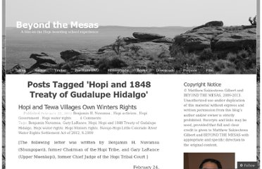 http://beyondthemesas.com/tag/hopi-and-1848-treaty-of-gudalupe-hidalgo/