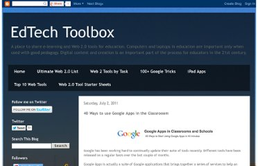 http://edtechtoolbox.blogspot.com/2011/07/40-ways-to-use-google-apps-in.html
