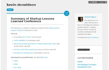http://blog.kevindonaldson.me/summary-of-startup-lessons-learned-conference-0