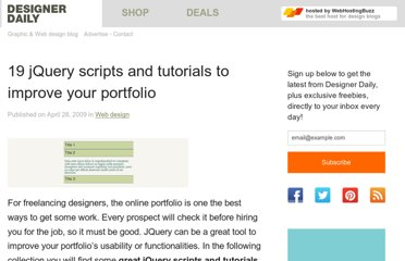 http://www.designer-daily.com/18-jquery-scripts-and-tutorials-to-improve-your-portfolio-2162