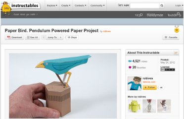 http://www.instructables.com/id/Paper-Bird-Pendulum-Powered-Paper-Project/