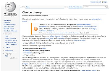 http://en.wikipedia.org/wiki/Choice_theory