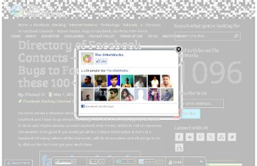 http://thednetworks.com/2012/05/07/directory-of-facebook-contacts-report-issues-bugs-to-facebook-via-these-100-forms/