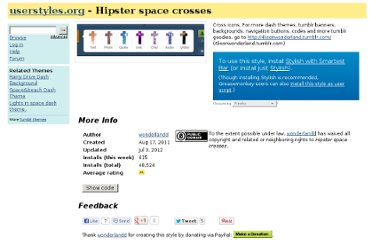 http://userstyles.org/styles/52551/hipster-space-crosses