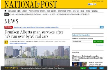 http://news.nationalpost.com/2012/05/24/drunken-alberta-man-survives-after-hes-run-over-by-26-rail-cars/