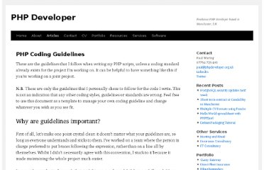 http://www.phpdeveloper.org.uk/articles/php-coding-guidelines/