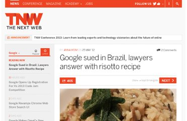 http://thenextweb.com/google/2012/05/25/google-sued-in-brazil-lawyers-answer-with-risotto-recipe/