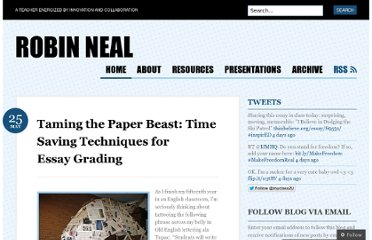 http://robinbneal.com/2012/05/25/taming-the-paper-beast-time-saving-techniques-for-essay-grading/