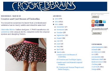 http://www.crookedbrains.net/2011/03/creative-cool-reuses-umbrellas.html