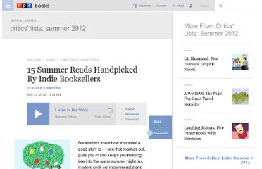 http://www.npr.org/2012/05/25/152681721/15-summer-reads-handpicked-by-indie-booksellers